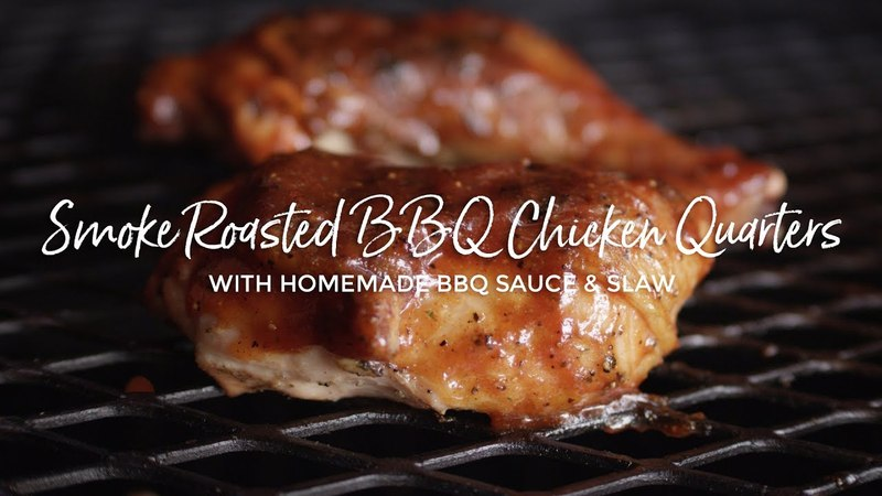 Smoke Roasted BBQ Chicken Quarters with a Bourbon Barbecue Sauce Glaze