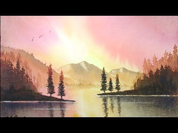 HOW TO PAINT A SUNSET,WITH MOUNTAINS,TREES WATER AND REFLECTIONS...SUNBURST
