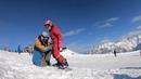 Обучение сноуборду в Домбае Январский кемп день 1