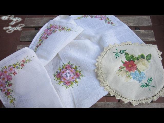 Como hacer decoupage sobre manteles y tapetes - Decoupage lavable
