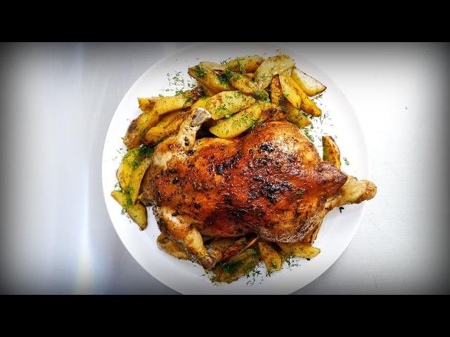 Просто офигенная курица в духовке с картошкой по деревенски