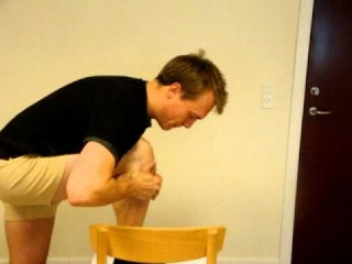 Traumatic knee pain, Example of home exercise for those responding to MWM (knee flexion)
