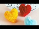 How to make heart shape pompom heart gift for valentine perfect shape pompom cool and creative