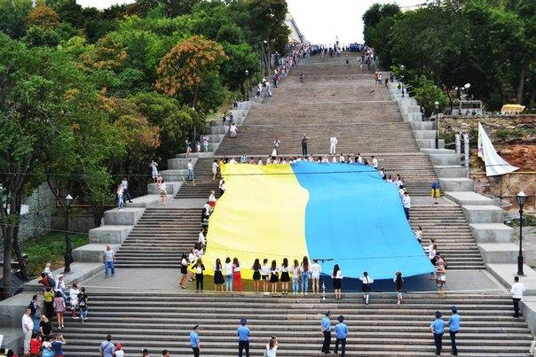 Одесситы пронесли 24-метровый флаг Украины по Потемкинской лестнице - Цензор.НЕТ 3783