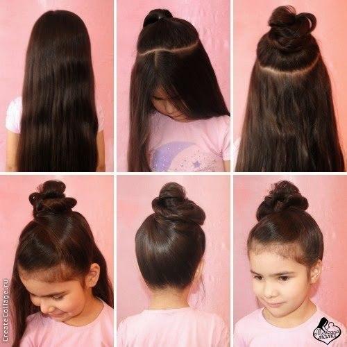 Быстрая причёска на длинные волосы для ребёнка