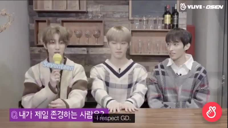 Q Who's the person you respect the most - SVT's The8 I respect GD Sunbaenim. - - He's still the idols' idol
