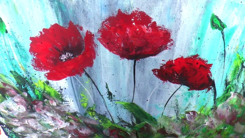 Маки мастихином. Абстракт акрилом. Poppy , abstract painting in acrylic