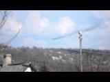 Подбитый Истребитель в небе. Краматорск (15 апреля 2014)
