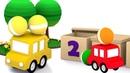 Ensinando os números para crianças. 4 carros coloridos.