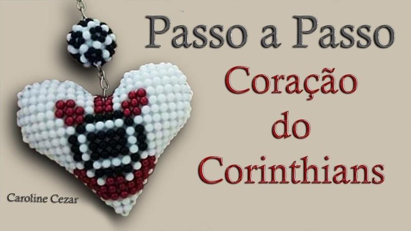 Passo a Passo Coração do Corinthians feito de Miçangas