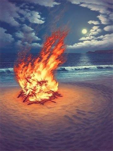 Форма огня — свободная. А раз свободная, каждый сам решает своим сердцем, что в нём увидит. Тебе становится спокойно — значит, живущее в тебе спокойствие просто отражается в огне. © Харуки Мураками
