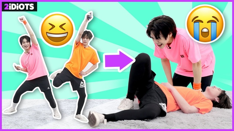 2 IDIOTS   Ep.37 - *HARD CHALLENGE* the most difficult diet aerobic in the world! 2idiots DROP DOWN!😂