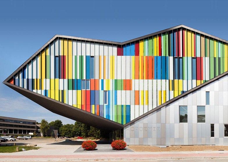 Academie MWD optical illusion facade by Carlos Arroyo