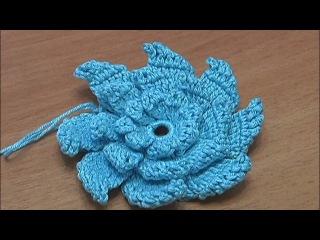 Вязание цветов Урок 17 Часть 2 Вязание крючком Цветка с острыми и объемными лепестками