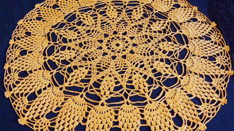 Салфетка крючком по схеме. Вязание салфетки. Ажурная салфетка. Часть 1. (Crochet napkin. P. 1)