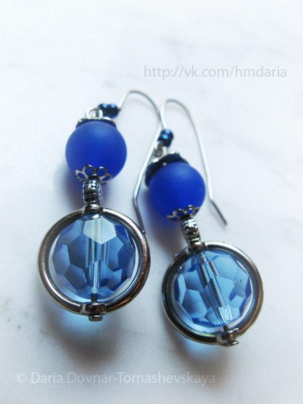 earrings blue handmade by Daria
