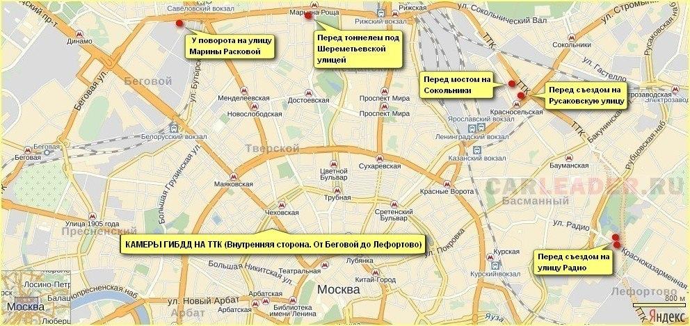 Камеры ГИБДД на ТТК (Внутренняя сторона). От Беговой до Лефортово.