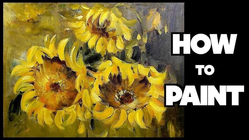 Oil Painting Tutorial ∥ Sunflower