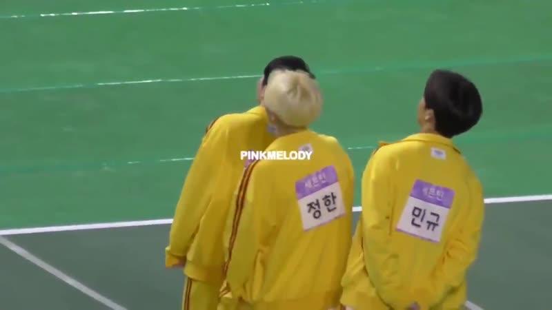 Sync dancing Woozi, Jeonghan and Mingyu