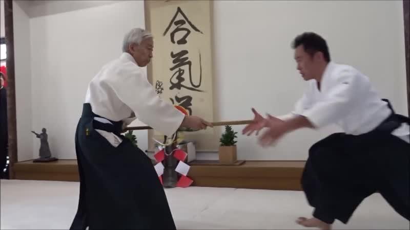 Moriteru Uesiba Doshus Demonstration at Kagami Biraki 2019