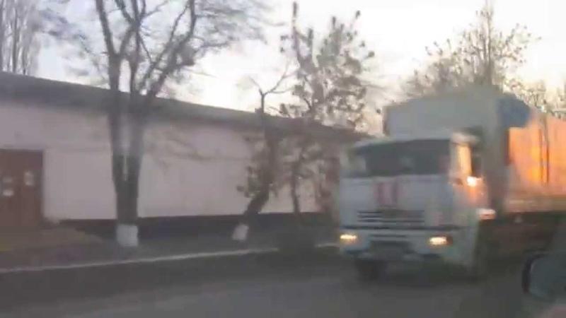 Гуманитарный конвой 19.03.2015 года. Колонна въезжает в Донецк РФ.