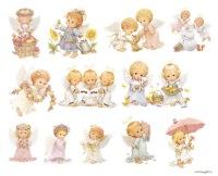 "Схема вышивки  ""Ангелочки "": таблица цветов."