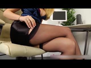 Blonde beauty in satin, stockings high heels (wowgirls, порно, лесби, мастурбирует, русское в жопу в корсете в лифчике в масле