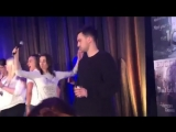 Richard and Jessica singing and dancing to