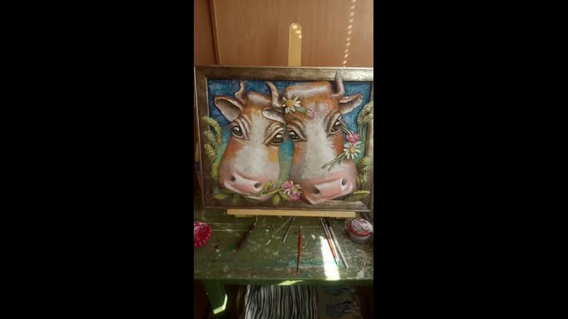 Коровы влюбленные с барельеф авторская работа Зырянова 🤚 Курсы обьемной лепки и в наличии на продажу 🙌