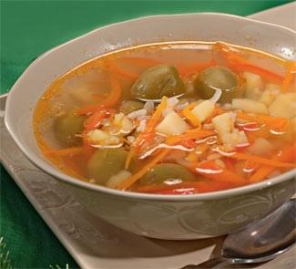 Суп со свининой и оливками