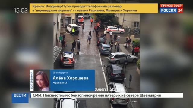 Новости на Россия 24 Высокий и лысый стали известны приметы безумца с бензопилой в Швейцарии