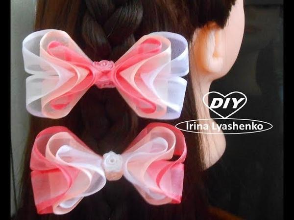 Бантик 3D из органзы МК/DIY 3D organza bow/PAP Laço de organza 3D182