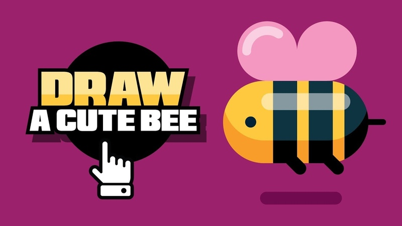 How To Draw A Bee EASY - Flat Design - Adobe Illustrator Tutorial - Speed Drawing