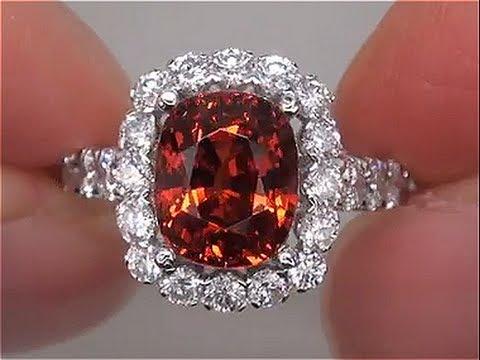 Fanta Orange GIA Certified VVS UNHEATED Spessartite Garnet Diamond 14k White Gold Ring - A133131