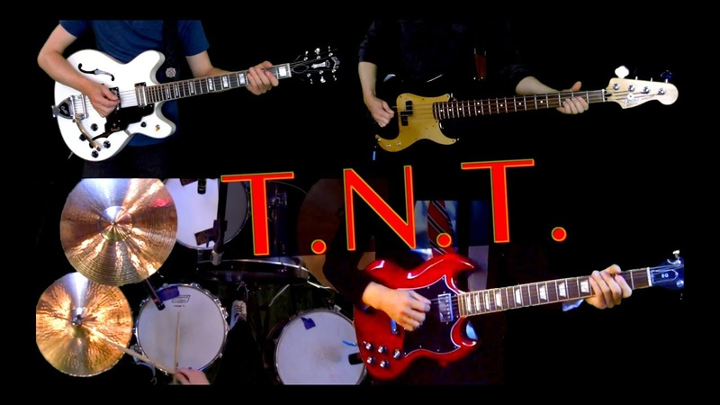 T.N.T. - Instrumental Cover w/ Lyrics - Guitars, Bass and drums