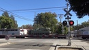BNSF 4820 Military Tank Train South and Light Rail, V St. Railroad Crossing New Gate Barrier