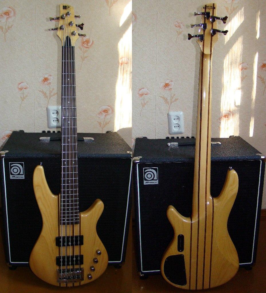 5-струнная бас-гитара с двумя хамбакерами.  Активный темброблок 9V.  Сквозной гриф, 24 лада.