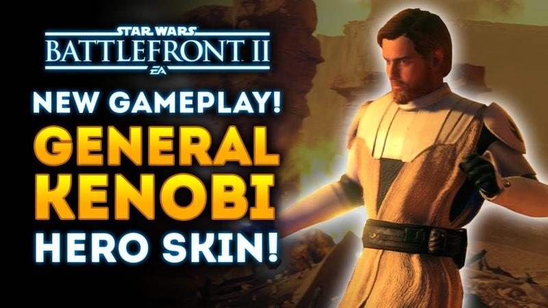 NEW GAMEPLAY of General Kenobi Hero Skin Star Wars Battlefront 2 Clone Wars DLC