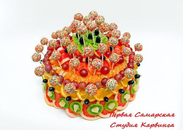 Фруктовый торт с кейкпопсами