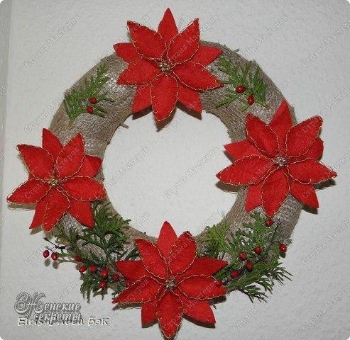 Рождественская пуансеттия из фетра