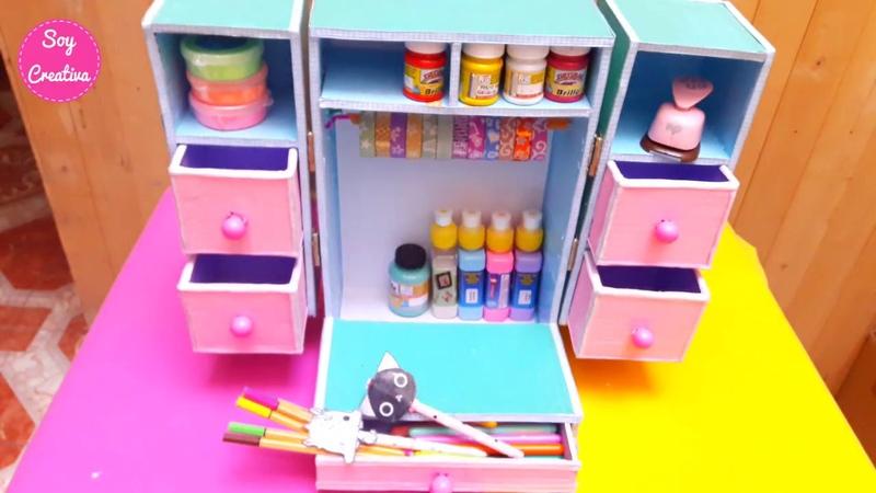 Organizador de escritorio de carton / Desk organizer DIY ♥ Soy Creativa ♥