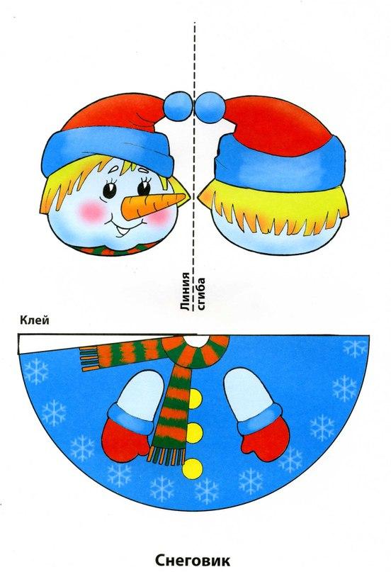 Как сделать новогоднюю игрушку снеговика своими руками из бумаги