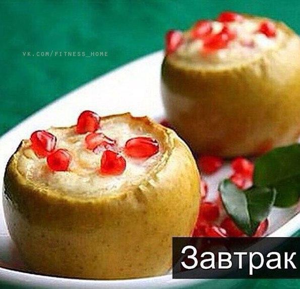 Печеные яблоки с творогом и гранатом (1 фото) - картинка