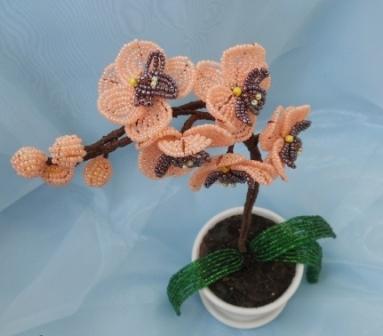 Орхидея из бисера. Схема здесь