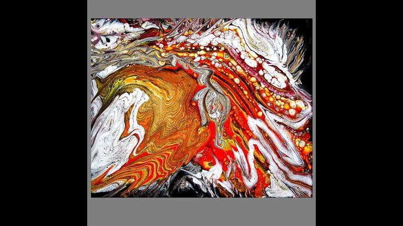 Fluid acrylics, Raucous Ring n Ribbon Pour ,Orange Domination 3198-7.30.18