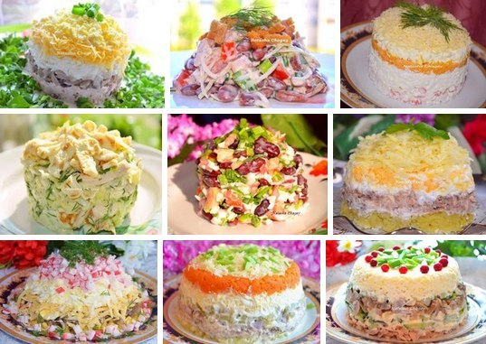 """9 рецептов самых вкусных салатов от Натальи Чагай  1. Салат """"Ночь"""" 2. Салат с сухариками 3. Салат """"Нежность"""""""