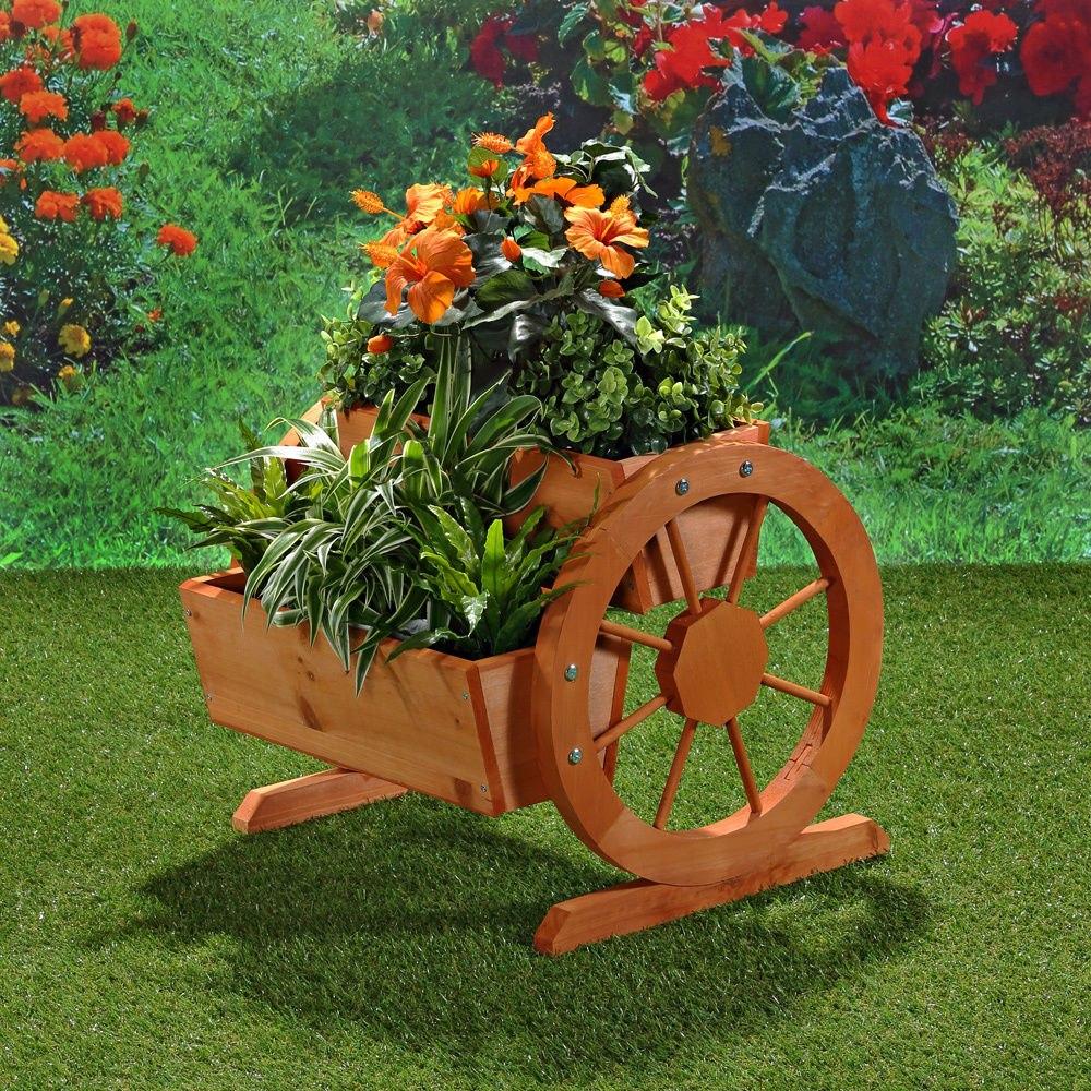 Jardinera maseta florero con ruedas de madera para - Jardineras con ruedas ...