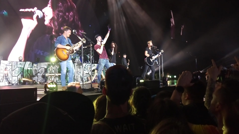 Nickelback Rockstar with two fans onstage Feed The Machine European Tour 2018 in Moscow Russia may 21 2018