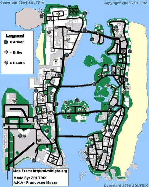 Vice City Карта Вспышек Ярости
