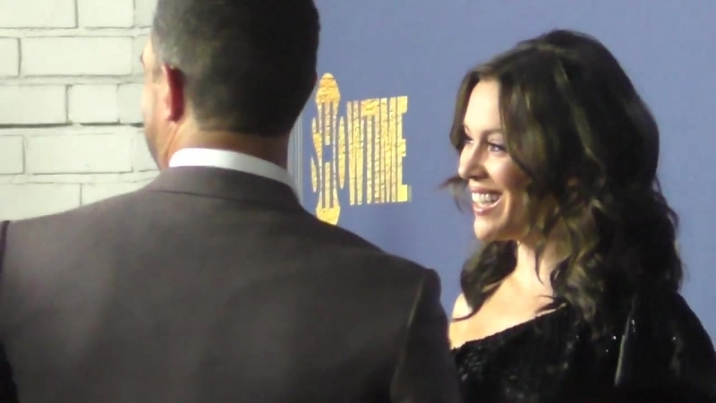 Alyssa Milano outside the Showtime Emmy Eve Nominees Celebration